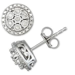 NWT Diamond Cluster Earrings 1/10 ct. sterling
